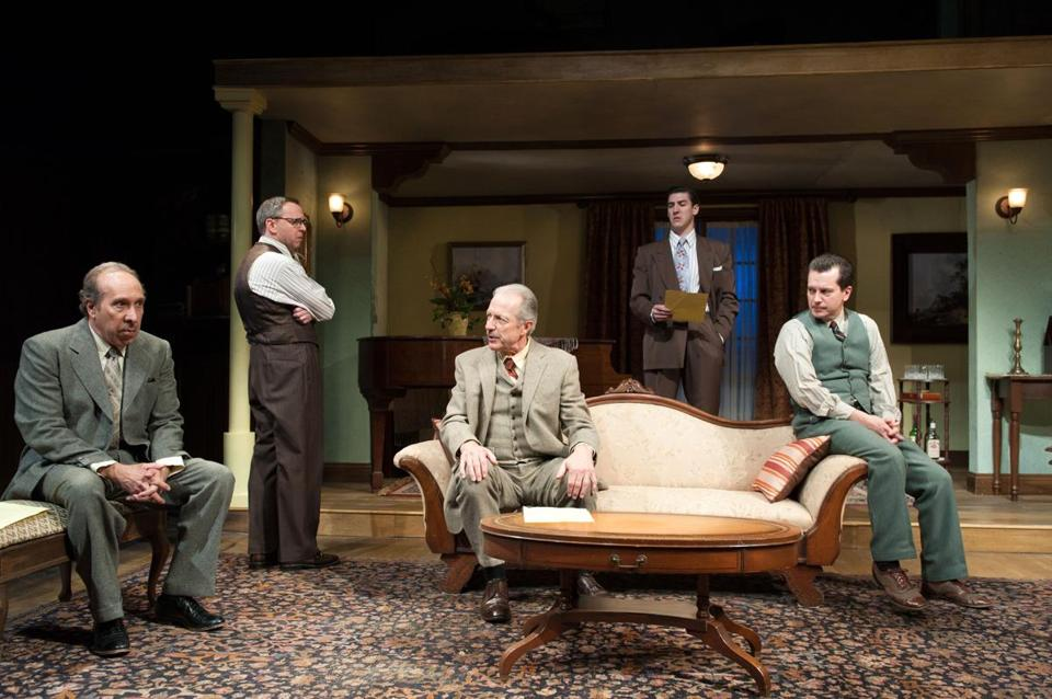 "Ken Baltin, Kendall Hodder, Will Lyman, Dan Whelton, and John Kooi in Nora Theatre's ""Operation Epsilon.''"