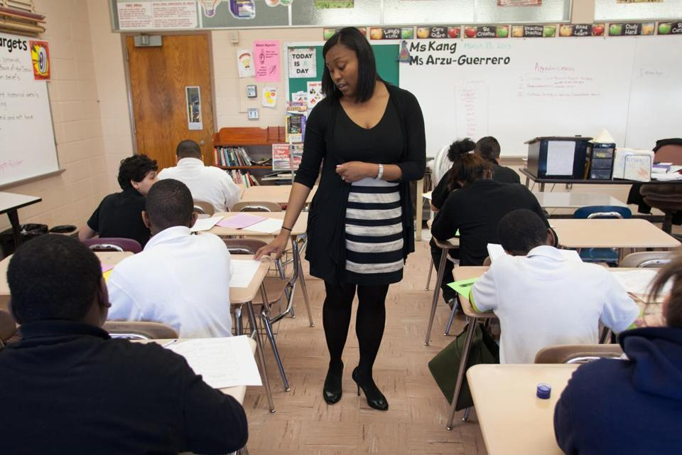 Beverly Arzu-Guerrero teaches at Duggan Middle School in Springfield while completing her graduate degree.
