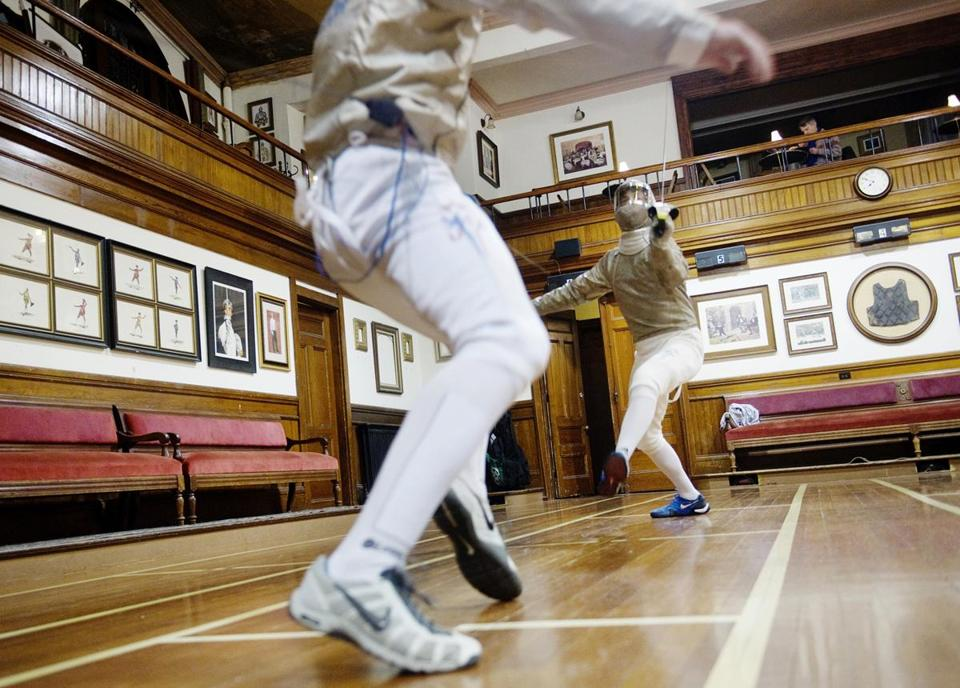Sherborn's Eli Dershwitz (right) and Westwood's Andrew Mackiewicz practice at the Zeta Fencing Club in Natick.