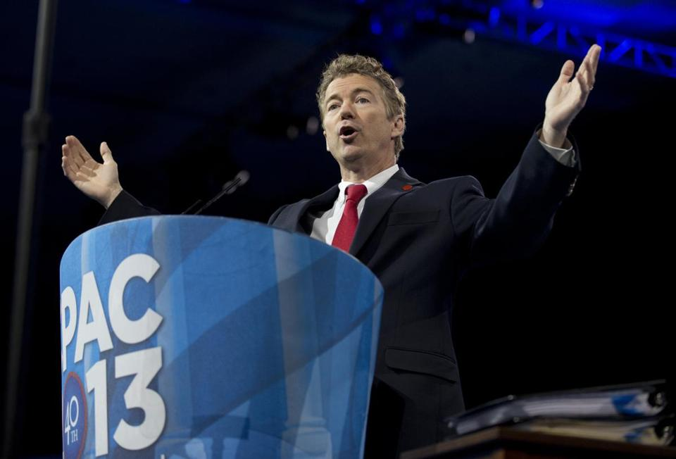 Senator Rand Paul of Kentucky spoke at the Conservative Political Action Conference in Maryland. Participants gave Paul a narrow victory in their presidential preference poll.