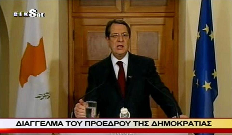 Cyprus's president Nikos Anastasiades addressed the nation in a televised broadcast Sunday.