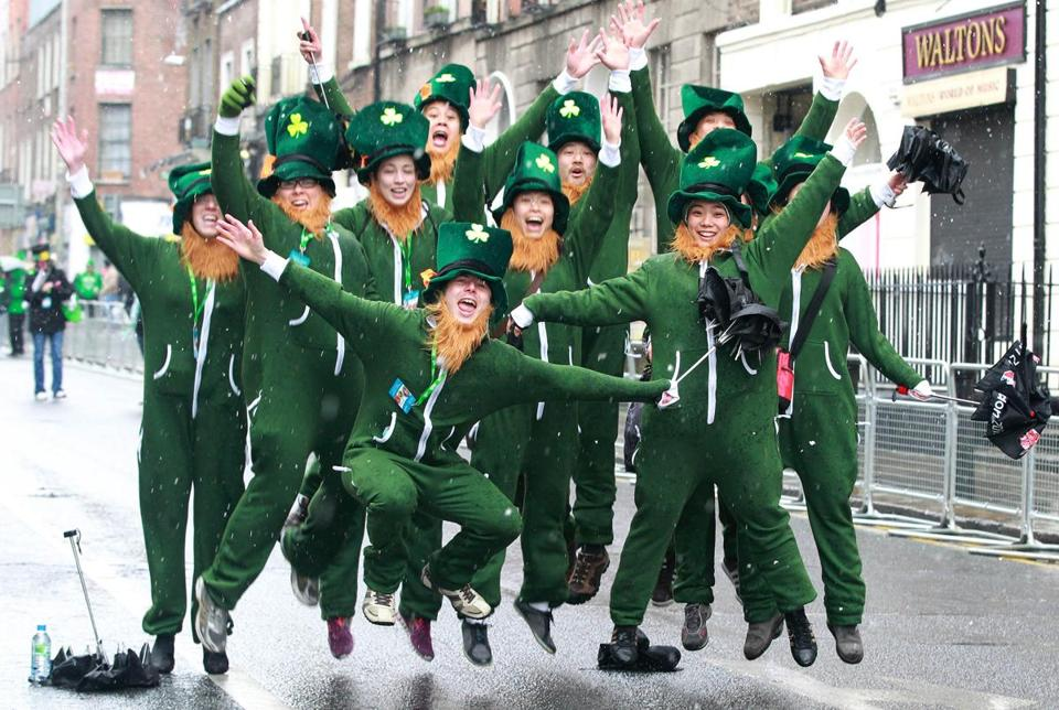 Many had fun and stayed warm while attending the St. Patrick's Day parade in Dublin, despite the nasty weather.