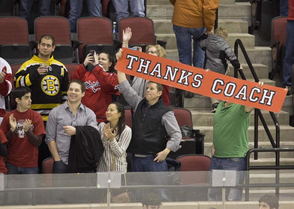 BU fans express their appreciation for Jack Parker, who coached his final home game with the Terriers.