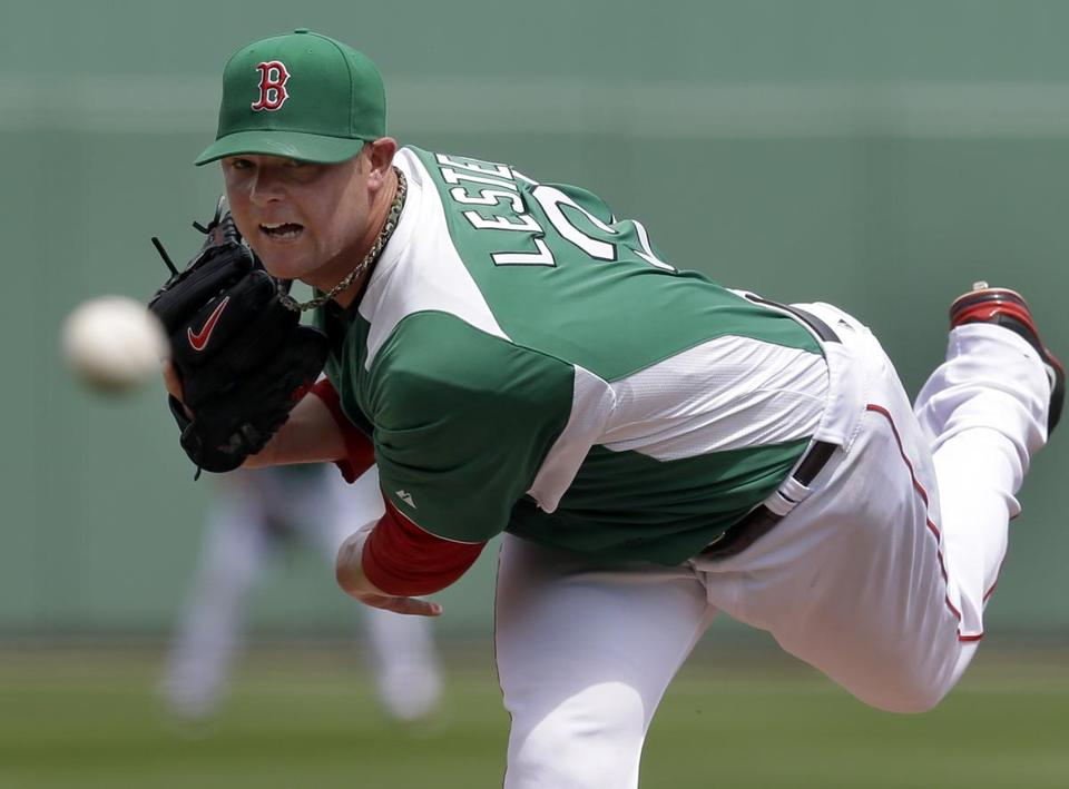 Jon Lester retired every batter he faced in six innings in a St. Patrick's Day spring training game against the Rays.
