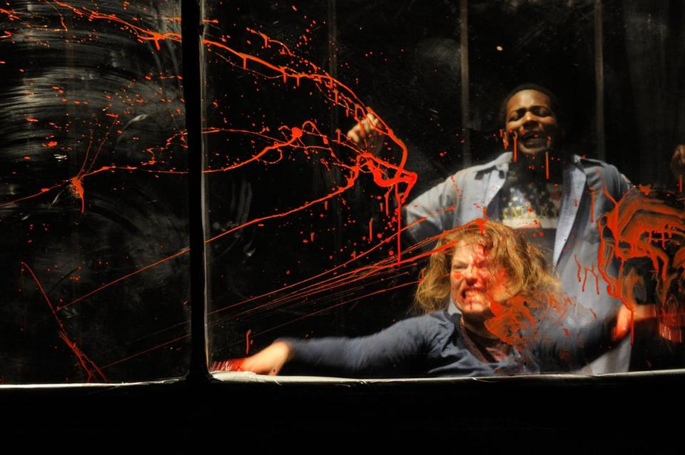 "Rebecca Gibel and Darien Battle in Trinity Rep's production of ""Social Creatures.''"