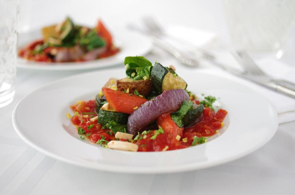 Roasted vegetables with tomato sauce.