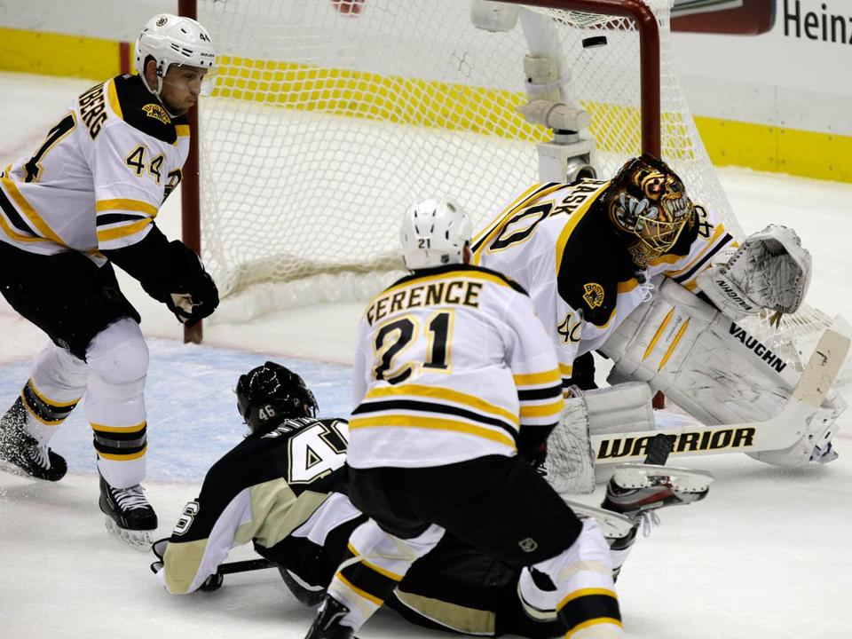 The Penguins' Joe Vitale, a former Northeastern star, got the puck past Bruins goalie Tuukka Rask in the first period.