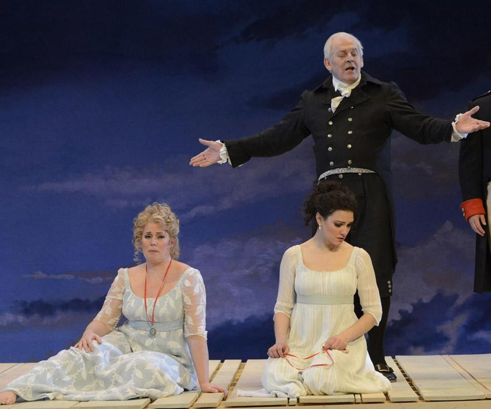 "Boston Lyric Opera's production of ""Così fan tutte"" at the Citi Shubert Theatre stars (from left) Caroline Worra, Sandra Piques Eddy, Thomas Allen (who also directs), Paul Appleby, Matthew Worth, and Phyllis Pancella."