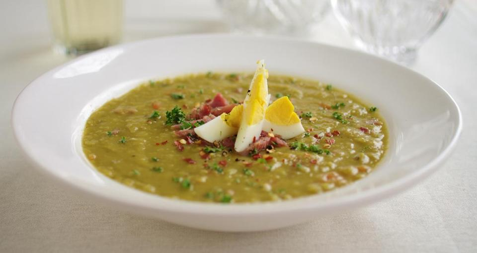 Split pea soup with ham and eggs.