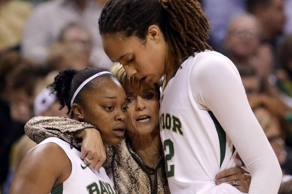 Baylor coach Kim Mulkey (center) will be leaning on stars Odyssey Sims and center Brittney Griner in the Big Dance.