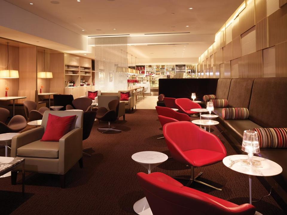 The Virgin Atlantic Boston Clubhouse is full of such earthly comforts for frequent fliers as lounge chairs, leather sofas, local cuisine, and signature cocktails.