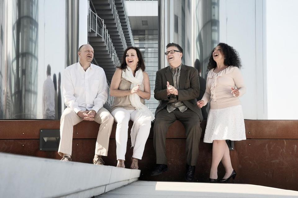 New York Voices are (from left) Darmon Meader, Lauren Kinhan, Peter Eldridge, and Kim Nazarian.