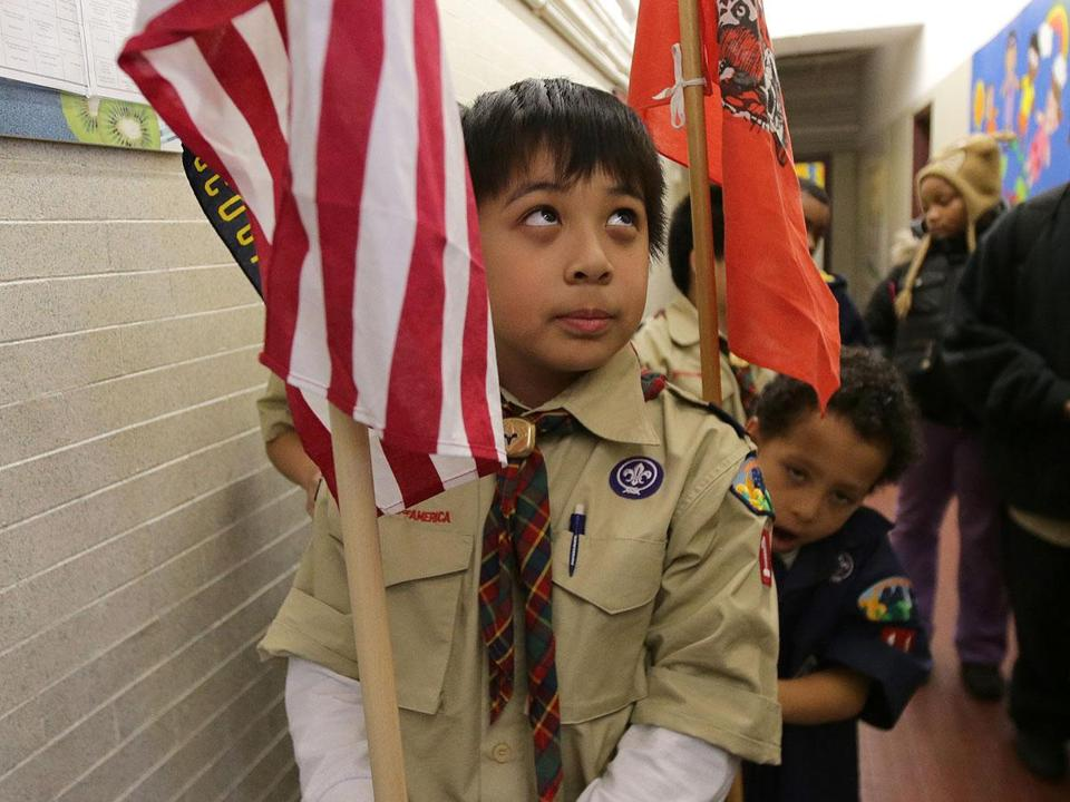 Derek Thach, 9, of Dorchester's Pack 11, at the Mather School.