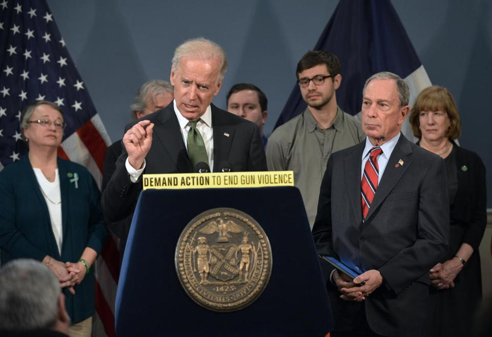 Vice President Joe Biden and Mayor Michael Bloomberg of New York discussed gun laws with families from Newtown.