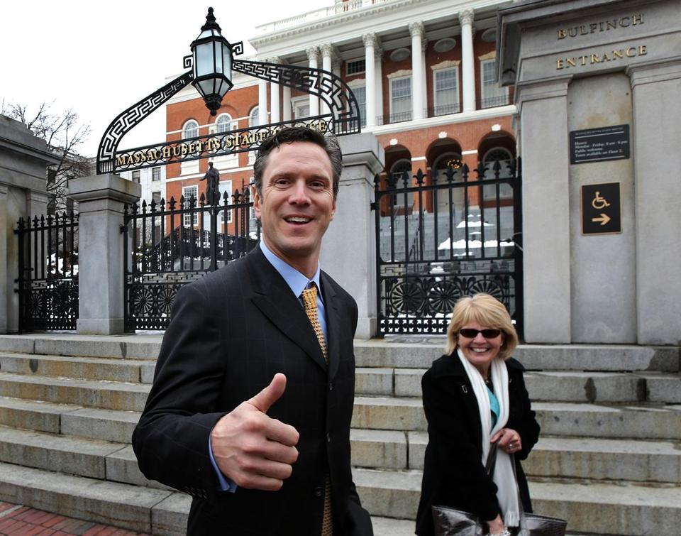 Former New England Patriots quarterback Drew Bledsoe, who owns a Washington winery, was on Beacon Hill to lobby for a bill that would allow out-of-state wineries to ship directly to customers.