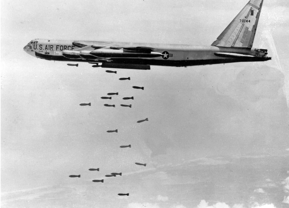 A US Air Force B-52 delivers a bomb load of more than 38,000 pounds in South Vietnam in March, 1966.