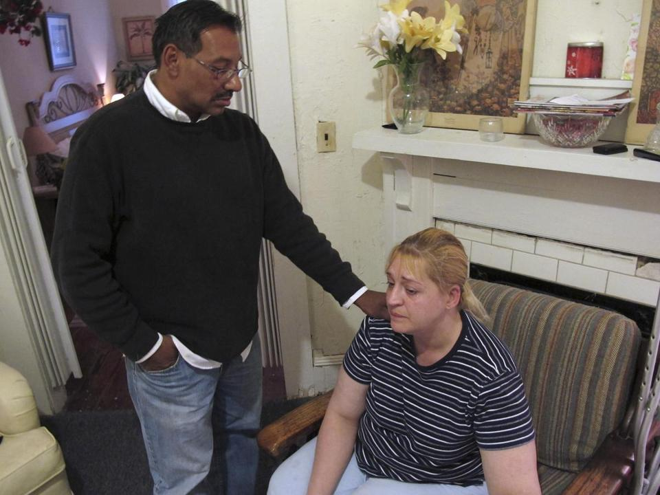 Sherry West was comforted by Luis Santiago, the child's father.