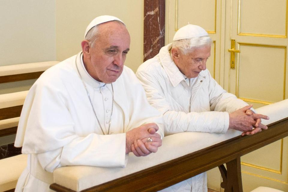 Pope Francis, left, and the former pope Benedict XVI prayed together at Castel Gandolfo.