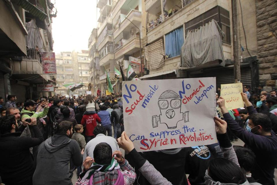 Demonstrators rallied in Aleppo on Friday in protests against the regime of President Bashar Assad.