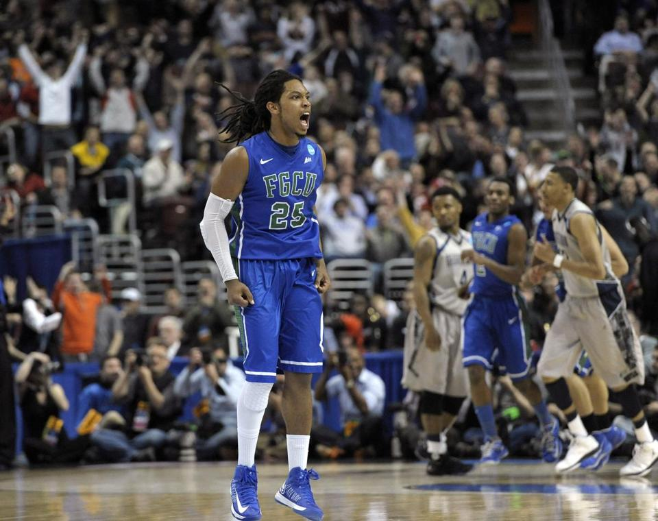 Florida Gulf Coast's Sherwood Brown reacted after a making a basket during the second half.