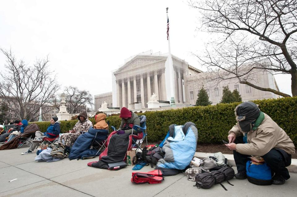 People were lined up Sunday to attend the Supreme Court arguments.
