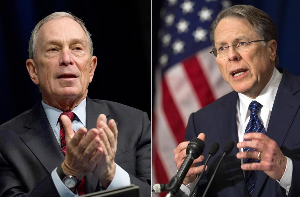 Mayor Michael Bloomberg (left) formed a super PAC to push for tougher gun laws. NRA leader Wayne LaPierre (right) said gun owners would make a counterweight to that.