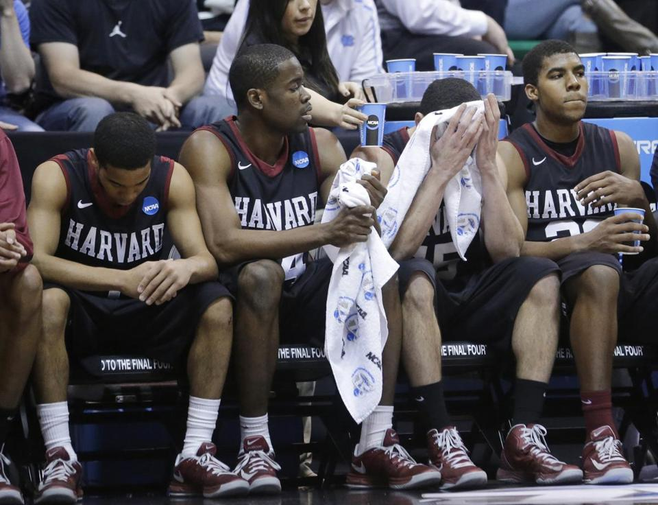Harvard's loss didn't sit well with (from left) Siyani Chambers, Steve Moundou-Missi, Christian Webster, and Wesley Saunders.