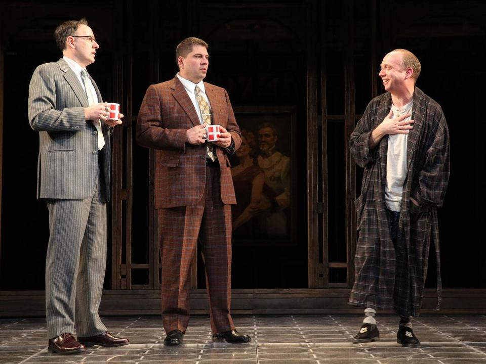 "From left: Erik Lochtefeld, Michael Manuel, and Paul Giamatti in Yale Repertory Theatre's ""Hamlet.''"