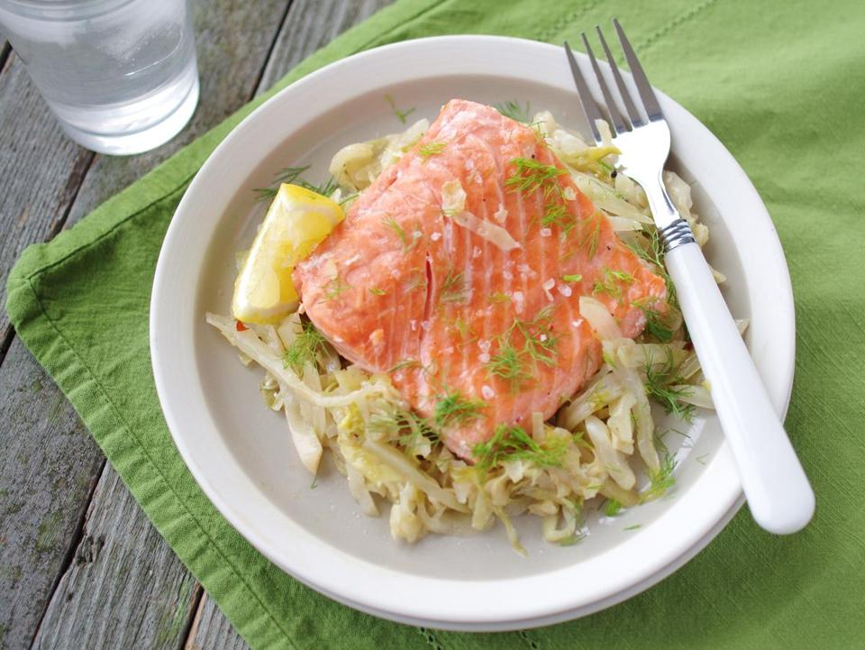 Roast salmon with cabbage and fennel.