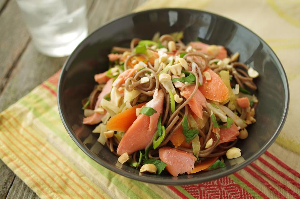 Soba noodles with salmon.