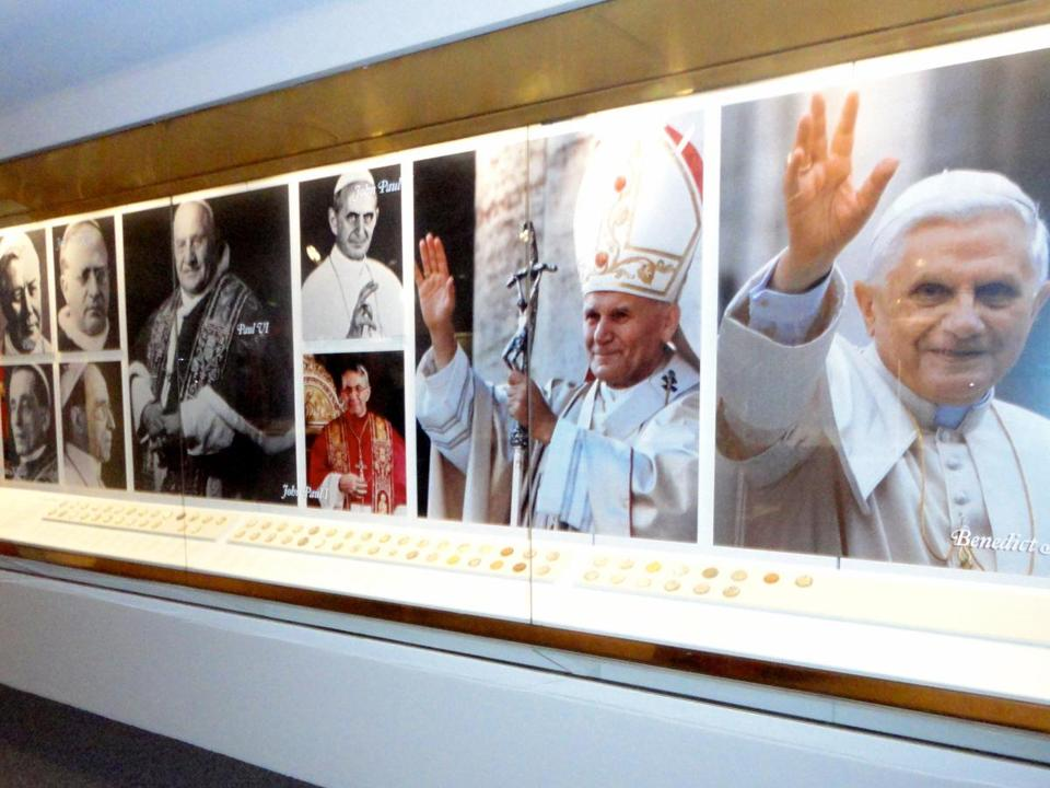 The papal gallery in the Knights of Columbus Museum displays papal medals from every pontiff since 1882.