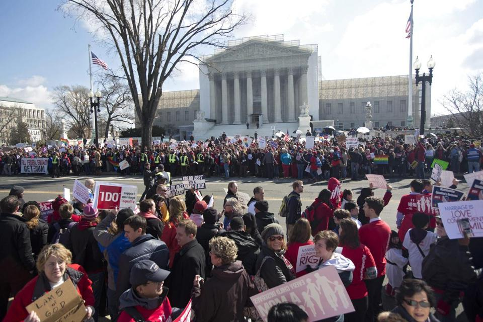 Crowds representing both sides of the issue gathered outside the Supreme Court during Tuesday's arguments.
