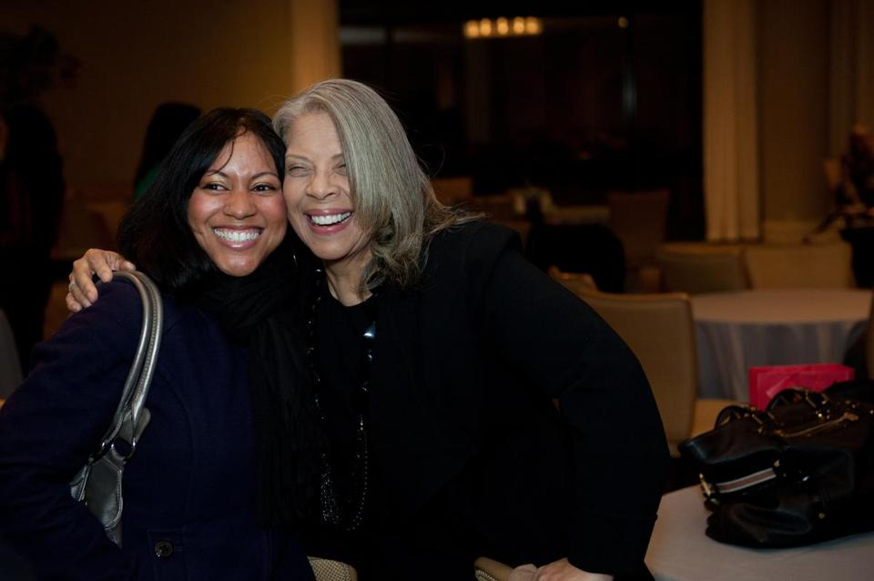 Jaala Davis (left) from GRLZradio.org and singer Patti Austin at the Boston Women event at the Copley Westin.