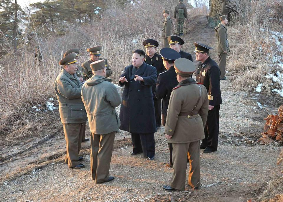 North Korean leader Kim Jong Un talked with generals on Monday during drills, one of many recent visits to military units.