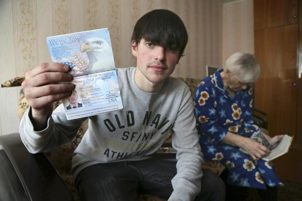 Alexander Abnosov, shown with his US passport, said he lived on the streets and stole to survive.
