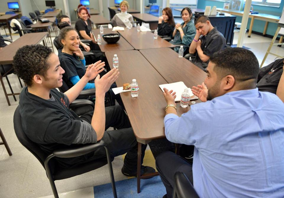 Greater Lawrence Technical School student Josuz Urena (left) spoke during a workshop on acquiring communication skills for the workplace.
