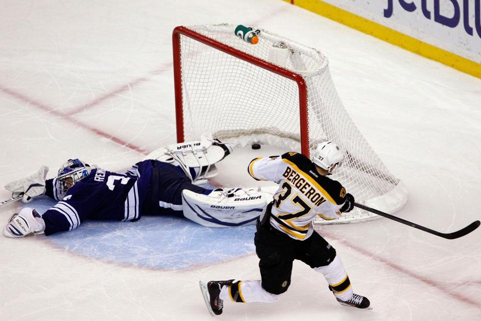 Patrice Bergeron slipped one past Leafs goalie James Reimer in the shootout.