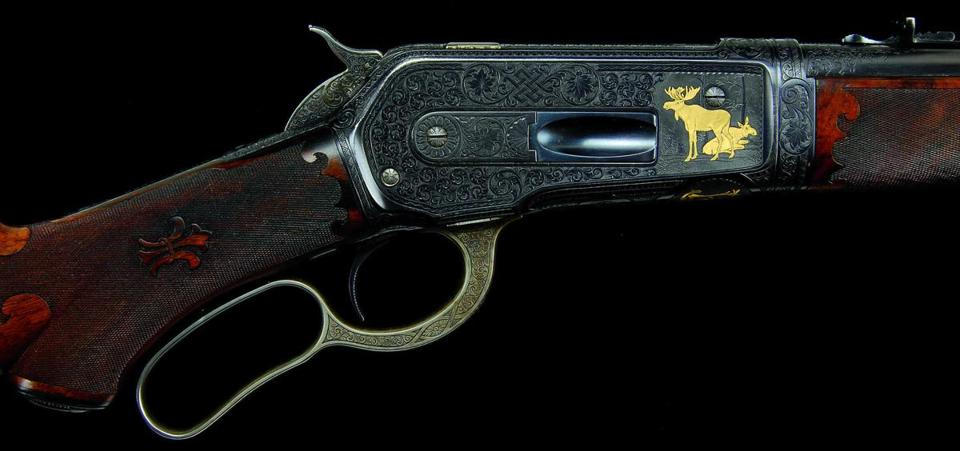 Above, this special-order Winchester model 1886 made for auto magnate John F. Dodge was the top seller at James D. Julia's Firearms Auction, bringing $333,500 against a $175,000-$275,000 estimate. Among the pistols was Frank Sinatra's gold and silver inlaid semi-auto pistol that he gave to Henry Cattaneo, the coproducer of his last three albums, which sold for $12,650 (estimate $2,500-$4,000). The top-selling jewel at Skinner's Fine Jewelry Auction, this necklace of 62 natural pearls, sold for $120,000 (estimate $30,000-$40,000).