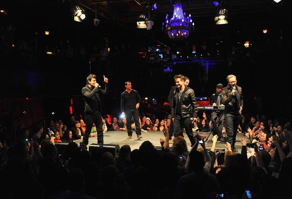 Opposite page (from left): Jordan Knight, Danny Wood, Joey McIntire, Jonathan Knight, and Donnie Wahlberg.