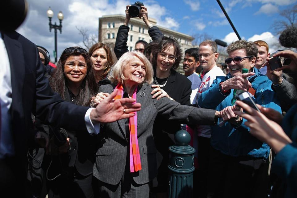 Edith Windsor, a New York widow challenging the Defense of Marriage Act, was mobbed by supporters Wednesday.