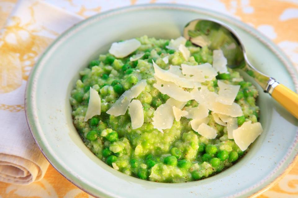 Risotto with fresh pea and scallion puree