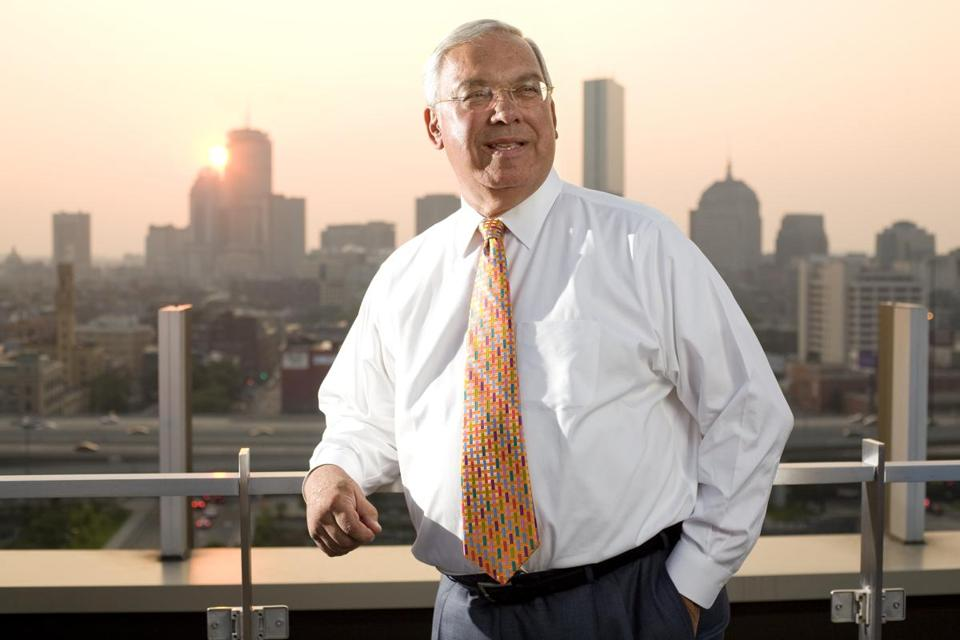 Mayor Thomas M. Menino atop the Macallen Building in South Boston in 2009.