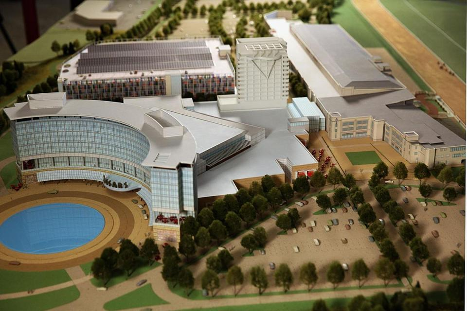 A model of the hotel and casino that is planned for Suffolk Downs in East Boston.  The Revere City Council voted unanimously to accept a host agreement for the project.