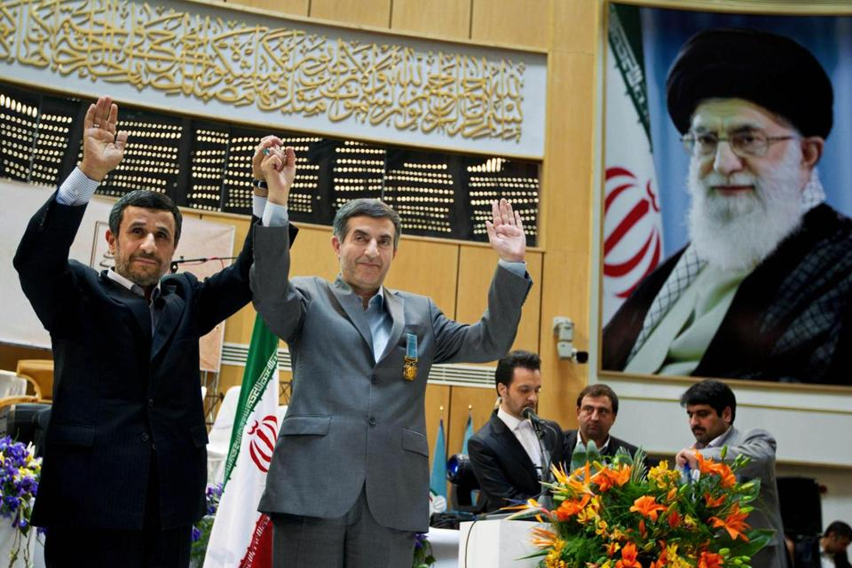 President Mahmoud Ahmadinejad (left) with top aide and in-law Esfandiari Rahim Mashaei, who has been discredited as part of a ''deviant current.''