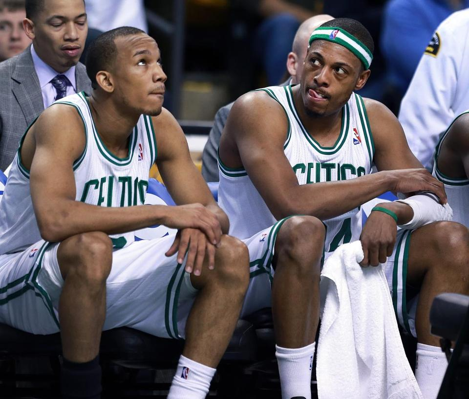 Avery Bradley (left), Paul Pierce  and the Celtics lost for the fifth straight game on Tuesday.