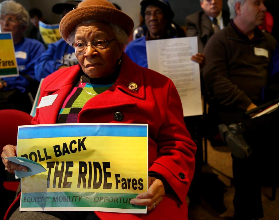 Eunice Wright joined a Massachusetts Senior Action Council demonstration Thursday at the state Transportation Building seeking to reverse last year's fare increase for The Ride