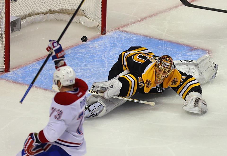 Tuukka Rask couldn't stop this third-period goal by Montreal's Michael Ryder.