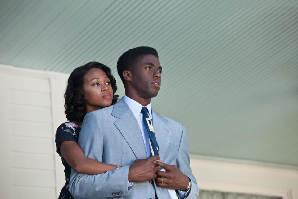 "Nicole Beharie and Chadwick Boseman in ""42.''"