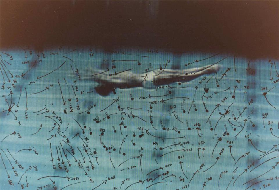 "Howardena Pindell's ""Video Drawings: Swimming."""