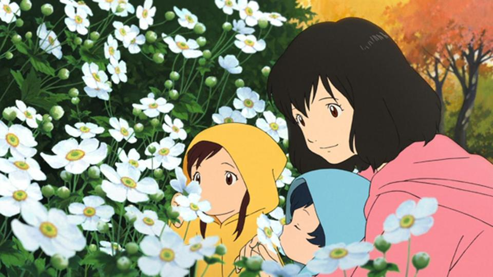 "In ""Wolf Children"" by Mamoru Hosoda, a single mother raises two children who turn into wolves."